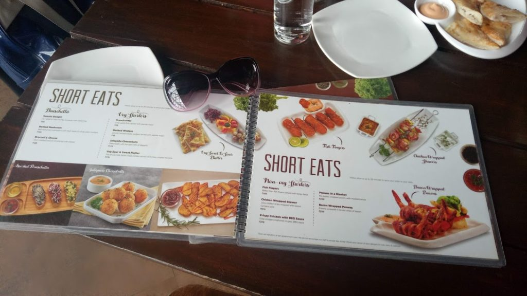 The Menu at Onesta - An Italian Restaurant in Bangalore, India (Bengaluru)