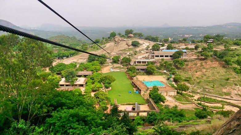 One of India's longest Zipline at Shilhaandara - Bangalore, India